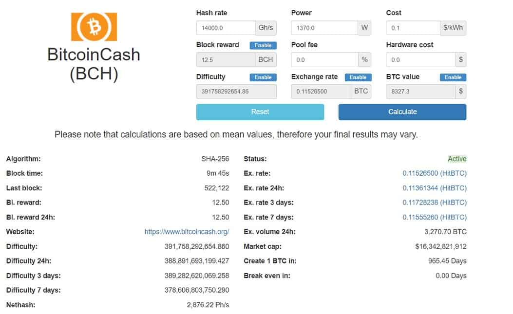 bitcoin cash calculator