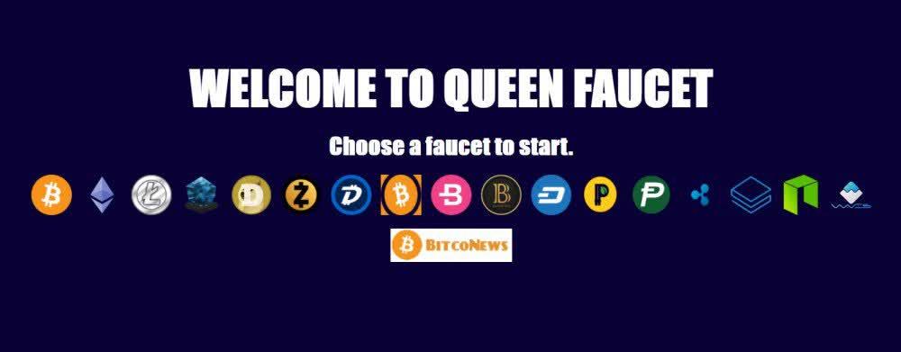 Main page of Queenfaucet bitcoin website